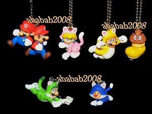 Takara Tomy Super Mario figure 3D Worlds keychain gashapon (full set 6 figures)