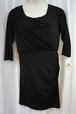 Donna Morgan Dress Sz 14 Solid Black Asymmetrical Gathered Side Cocktail Party