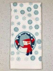 "Kitchen Hand Towel Snowflake Winter Snowman Applique' Dish Towel 25"" X 16'"