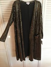 Lularoe Sarah Elegant Black Gold Sequin Large Long Duster Cardigan Sweater NWT