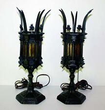Pair Gothic Cast Iron Mantle Lamps   Flickering Flame Bulbs   6 Panel Slag  Glass