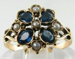 LUSH 9K 9CT GOLD BLUE SAPPHIRE & PEARL 4 LEAF CLOVER FLOWER RING FREE RESIZE
