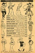 1937 small Print Ad Play Suits Popeye Buck Jones Cowboy Indian Mountie Soldier
