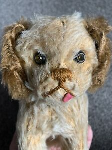 """Early Rare Antique Vintage Mohair Schuco Yes No Straw Filled Dog  7"""" Jewel Eyes!"""