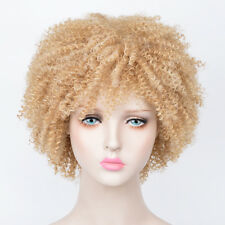 Women's Short Afro Fluffy Pixie None Lace Kinky Curly Curls Hair Wig Wigs