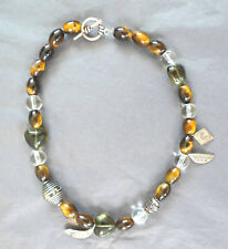 Tiger's Eye, Quartz and Tibetan silver beaded necklace - handmade.New