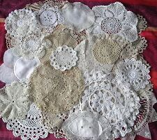 20 x Vintage Doilies MATS CROCHET LACE Job Lot WHITE CREAM COFFEE BUNDLE Wedding