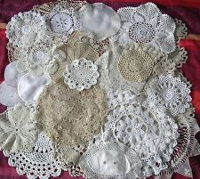 20 x Vintage Doilies MATS CROCHET LACE JobLot WHITE CREAM COFFEE WEDDING CHATEAU
