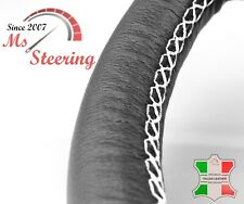 FOR SAAB 9-2, 9-3, 9-5 99-10 BLACK LEATHER STEERING WHEEL COVER WHITE STIT