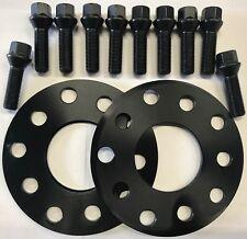 ALLOY WHEEL SPACERS 5mm X 2 BLACK + 10 X B BOLTS FOR AUDI A6 A8 TT R8 57.1