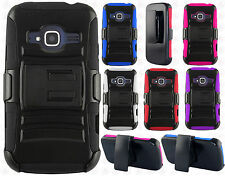 For ZTE Concord II 2 Z730 Hybrid Combo Holster KICKSTAND Rubber Case Phone Cover