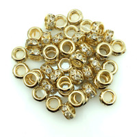 100pcs Shiny Golden Clear Crystal Rhinestone Charms Rondelle Spacer Beads 6mm d6