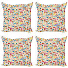 Ambesonne Music Theme Cushion Cover Set of 4 for Couch and Bed in 4 Sizes