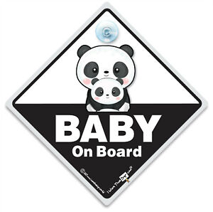 Baby On Board Sign, Panda Baby and Panda Mum Suction Cup Baby On Board Car Sign