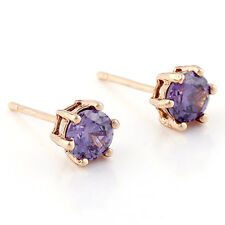 Rose Gold Plated Womens Tiny Purple crystal 6mm Stud Earrings Infant Toddler