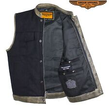 Black Canvas Motorcycle Vest with Distressed Brown Leather Trim and Gun Pockets
