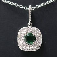 Green Emerald Moissanite Halo Pendant Necklace Women Wedding Jewelry Chain