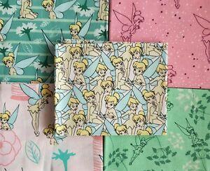 Tinkerbell Fat Quarter 100% Cotton Fabric Nursery, Patchwork, Cushion, Facemasks