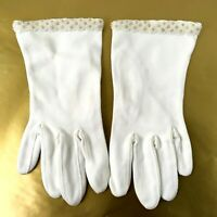 Vintage Formal Beaded Evening Gloves Off White Wrist Length