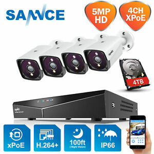 SANNCE H.264+4CH Channel 5MP CCTV PoE System Human Motion Detection IP66 Remote