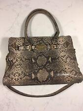 be29dd71b308 Michael Kors Beige Python Embossed Leather Hamilton Satchel Purse Handbag