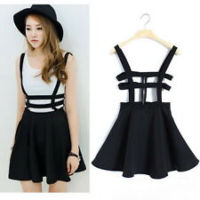 Strap dress suspender skirt Mini Women Skater A-line Cute Zip Sweet Mini Dress G