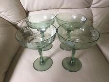 Vintage Plastic Green Margarita Wine Glasses Set Of 4