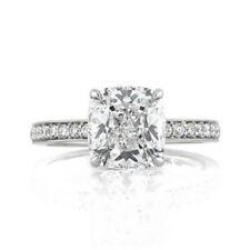 Solid White Gold Size 5.5 6 7 3.10 Ct Solitaire Engagement Cushion Cut Ring 14K