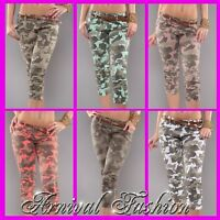 WOMENS CAMO PRINT 3/4 PANTS ladies ARMY STRETCH HOTPANTS jeans BELT AU JEGGINGS