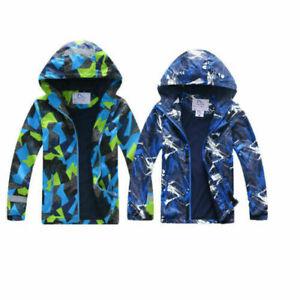 Waterproof Hooded Fleece Boys Kids Rain Coat School Lined Jacket Age 3-11 Yr