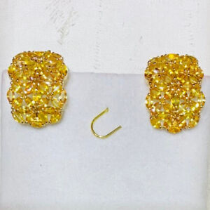 14k Solid Yellow Gold Earring With Natural Marquise Orange Sapphire 5.52GM