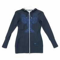 NIKE Fit Dry Embroidered Hoodie Womens Size S Small Blue Full Zip Long Sleeve