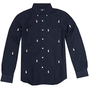 NEW Ralph Lauren Mens Classic Fit Multi Pony Logo Oxford Shirt , Navy L