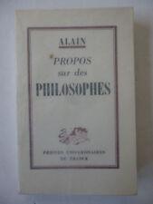 ALAIN. Propos sur des philosophes. Edition originale. Rare
