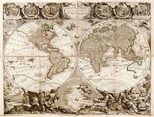 Mappa ANTICA NOLIN 1708 Mondo Atlante storico grandi REPLICA poster stampa pam1152