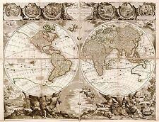 MAP ANTIQUE NOLIN 1708 WORLD ATLAS HISTORIC LARGE REPLICA POSTER PRINT PAM1152