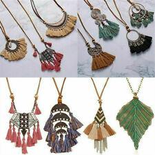 Bohemia Women Boho Spiral Tassel Pendant Necklace Long Sweater Chain Jewelry ~