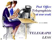 "1942-1945 Vintage WWII Poster-Telegraph Less Art Print 8.5"" x 11"" Reprint"