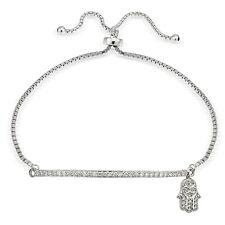 Sterling Silber Zirkonia Hamsa & Leiste Einstellbar Armband
