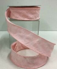 """Embossed Pink Linen Wired Ribbon~1 1/2"""" Wide x 10 Yards"""