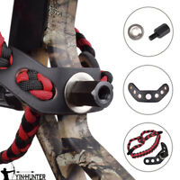 Archery Wrist Sling Strap Braid for Compound Bow Color Red with Black Leather 1X