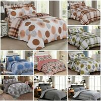 4Pcs Bedding Set Duvet Cover With Matching Fitted Sheet Pillow Cases UK SIZES