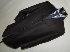 Sergio Valentino Black shadow stripe shawl Zoot Suits 38 S pants 31X29