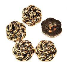 Lot de 5 boutons chics en plastique doré / couleur or 15mm mercerie button