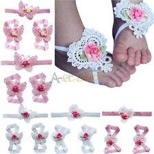5 Set 15PC Baby Infant Girl Headband Foot Butterfly Flower Hair Band Accessories