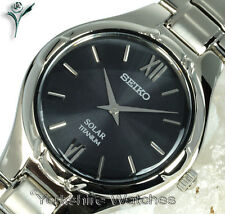 Ladies SEIKO SOLAR TITANIUM DEEP GREY FACE With titanium BRACELET SUP279P1