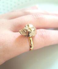Skull Head Gold Band Adjustable Finger Ring - Boho Punk Goth Vintage Jewellery