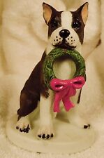 Dog Figurine Boston Terrier w/Wreath Sitting Schmid 1986 Porcelain Wonderful