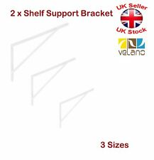 2 x  Shelf Supports Metal Brackets Strengthened 4mm White 3 Sizes 300 400 500mm