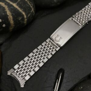 Nice Used Omega Seamaster Stainless Steel Rice Beads #70 Ends Vintage Watch Band